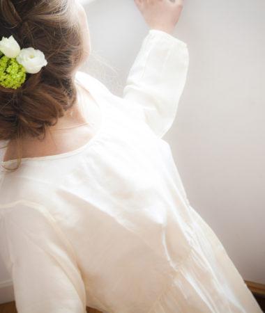 Robe en soie blanc ivoire Natural, col. Bunaï | JEANNE VOILIER