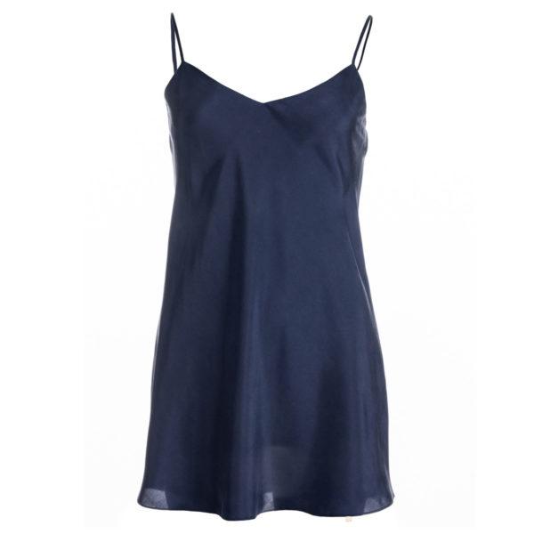 robe en soie Bleu nuit, lg 2, col. Jill | Jeanne Voilier