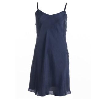 robe en soie Bleu nuit, lg 3, col. Jill | Jeanne Voilier
