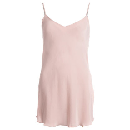 robe en soie rose poudré mi-longue, col. Jeanne | Jeanne Voilier