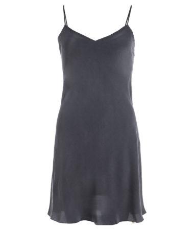 robe en soie lavée noire, version longue, col. Jill | JEANNE VIOILIER