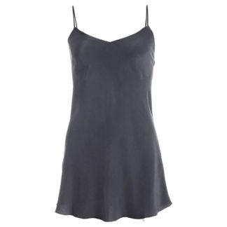 robe en soie lavée noire, mi longue, col. Jill | JEANNE VIOILIER