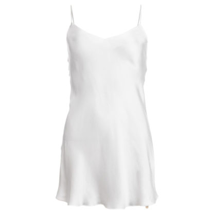 robe en soie lavée ivoire, mi-longue, col. Jill | Jeanne Voilier