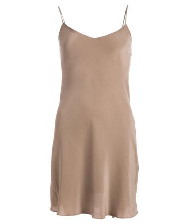 robe en soie Sable chaud, longue col. JEANNE | JEANNE VOILIER