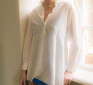 tuniques en coton, Blue Line shirt, col. Bunaï | JEANNE VOILIER