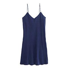 robe en soie bleu sombre, col. Jeanne | Jeanne Voilier