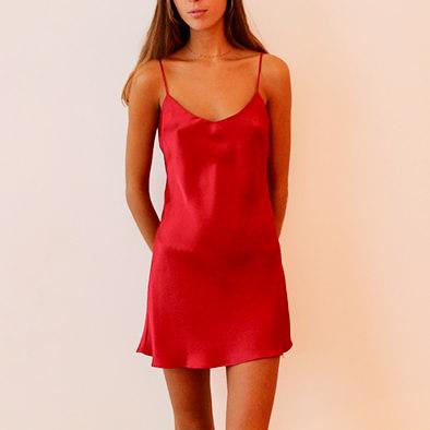 détaillant en ligne 94050 bb2af robe en soie carmin mi-longue Louise