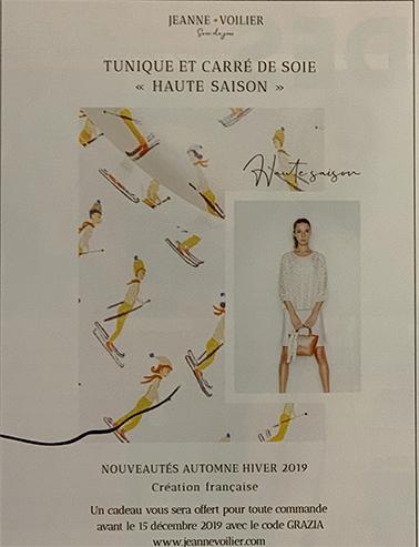 parution presse Grazia novembre 2019 - Jeanne Voilier, soies de jour et bijoux précieux