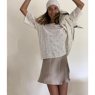 robe Louise et tunique Khadi Bunaï | Jeanne Voilier, créatrice soies et bijoux précieux