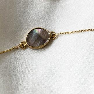 bracelet or et nacre MOON _ Jeanne voilier, soies et bijoux précieux