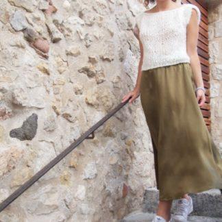 jupe longue en soie satinée | Jeanne Voilier, soies de jour